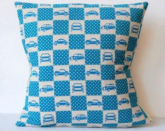 Cars Cars Cars Echino Linen Blue Pillow 18 x 18