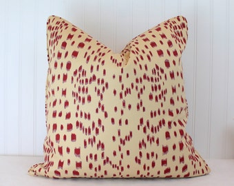 One or Both Sides - Brunschwig & Fils Les Touches Bordeaux Pillow Cover with Self Cording