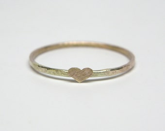 Recycled Forged 10k Gold Nugget Band Ring with Tiny Textured Heart