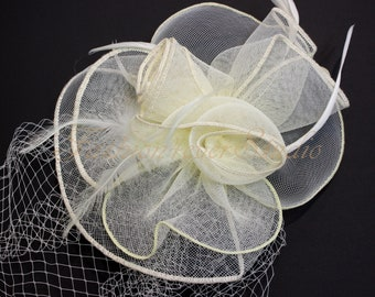 Ivory Headpiece 10 inches, Flower Fascinator, Feather Headpiece, Flower Fascinator, Feather Fascinator, With Hair Clip and Brooch Pin Back