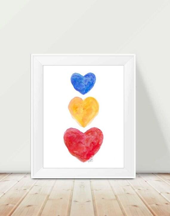 Primary Playroom Art, 11x14 Watercolor Hearts Print