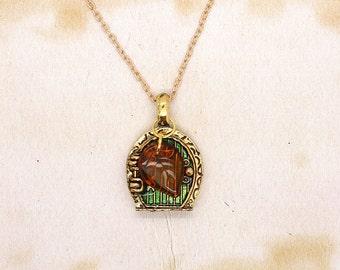 Hobbit Door Pendant With Orange Czech Glass Leaf On Gold Tone Chain Necklace