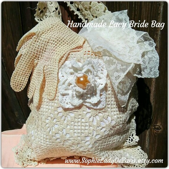 Off White Bride Lacy Bag Handmade French Purse Vintage Hand Crocheted and Guipure Cotton Lace Wedding Accessory  #sophieladydeparis