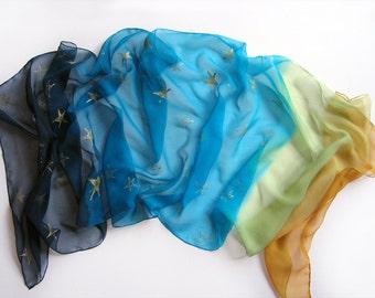 Milky way silk scarf- Ombre silk chiffon scarf- Mustard aqua dark blue scarf with golden stars/ Lightweight Painted scarf/ Woman accessory