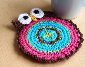 Owl Crochet Coaster - Owl Coaster Double Faced  - Bird Coaster - Animal Coaster - Hostess Gift - Mothers Day Gift - Housewarming Gift