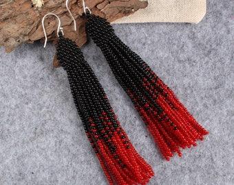Black red beaded tassel earrings,Beaded earrings in Oscar de La Renta style, long tassel beaded earrings, oscar de la renta tassel earrings