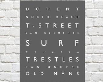 Surf San Clemente - Beach -  Coastal - Beach Decor - Orange County - Surfing - Typography - Wall Art - Sports Decor - Poster Prints