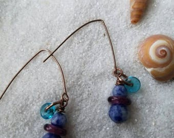 Delicate Sodalite, Glass & Antiqued Copper Earrings