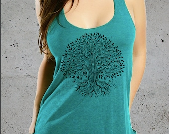 Womens TREE Of LIFE Shirt, Graphic Tanks For Women, Yoga Tank Top, Racer Back Tank Top American Apparel Tri-Blend Tee S M L, Christmas Gifts