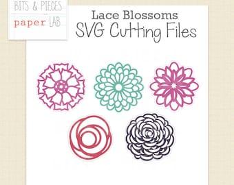 SVG Cutting Files: Lace Flower SVG Blossoms, Flower SVG