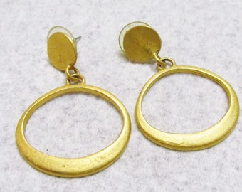 Designer Signed Express frosted gold metal drop dangle hoops.