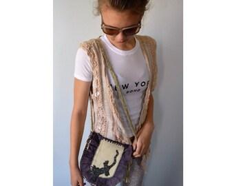 Vintage Leather Shoulder Handbag, Shoulder Handbag, Handmade Bag, Plum and Cream Leather Handbag, Handbag