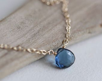 Gold Sapphire Necklace, Birthstone Necklace, Push Present,  Minimal Layered Necklace, Dainty Silver or Gold Sapphire Jewelry, New Mom Gift