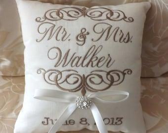 Ring Bearer Pillow, Mr. & Mrs. Ring Bearer Pillow, Custom , Personalized, Linen Ring Pillow, Keepsake, wedding pillow, (RB101)