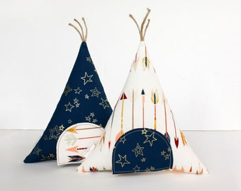 Tooth Fairy Teepee Toy Pillow- Gift For Kids, Decorative Pillow, Arrows and Gold Stars, Boys, Girls, Children,  Stuffed Toy, Keepsake, Tipi