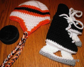 Hockey Skate booties and an earflap hat in an NHL Set now in three sizes