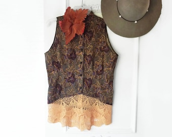 Upcycled Reworked blouse- sleeveless ooak top- brown floral,  orange lace- size small to medium,  romantic top, indie top, paisley top