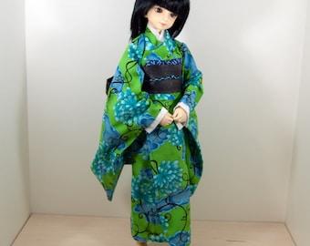SD10/13 Bright BLue/Green Flower Girl Kimono/Yukata