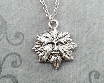 Green Man Necklace SMALL Green Man Jewelry Silver Green Man Charm Leaf Man Pendant Necklace Forest Spirit Necklace Nature Jewelry Greenman