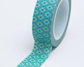 Washi Tape - 15mm - Aqua and Sage Geometric Block Design - Deco Paper Tape 533