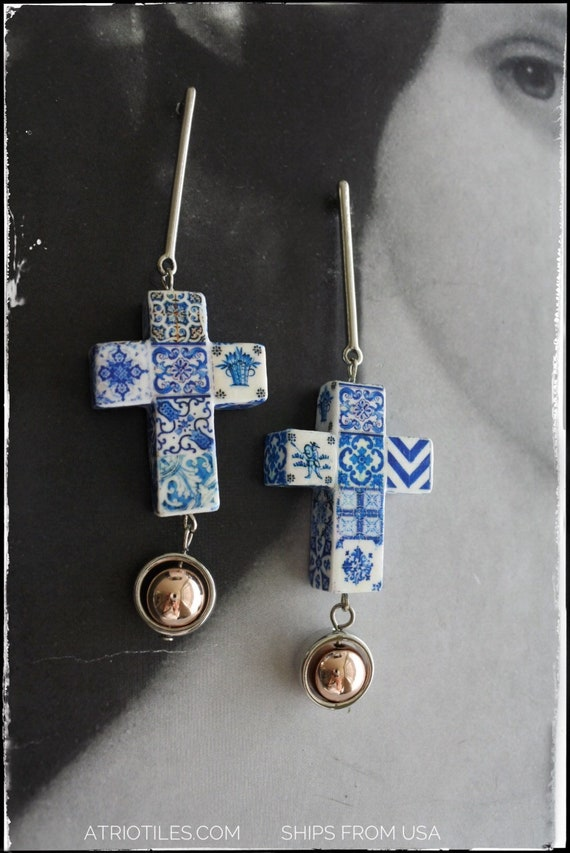 Cross Earrings Tile Portugal Azulejo Blue Delft Majolica Ships from USA Gift box included - One of a kind