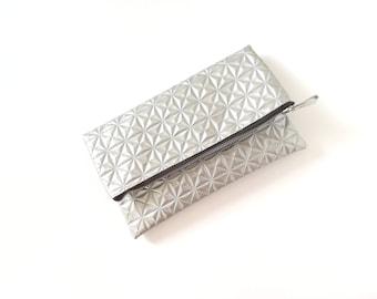 Silver clutch, silver evening bag, silver purse, bridesmaid clutch, geometric purse, silver bag- Ice