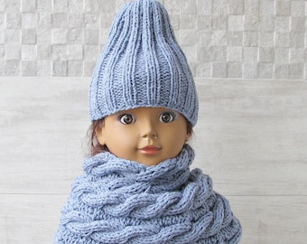 Hat and Scarf, Kids Slouchy Beanie and Neck warmer, Knitted Winter Fashion