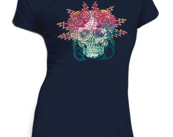 Grateful Dead Electric Skull and Roses Womens T shirt