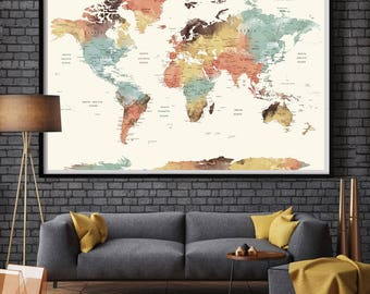 Large map print etsy world map gumiabroncs Image collections