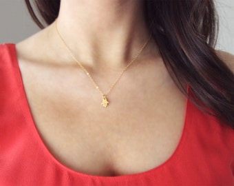 Gold Hamsa Necklace | Delicate Gold Necklace