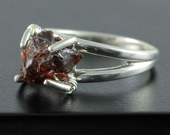 Garnet Ring Sterling Silver - Rough Natural Garnet - Raw Stone Ring - January Birthstone