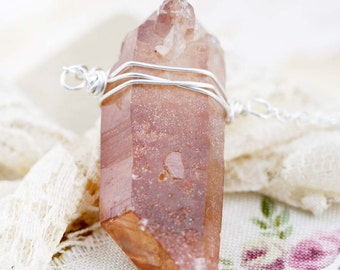 Purify raw crystal point necklace (C) - Tibetan quartz  (RS)