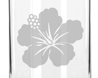 Pretty Budding Flower Hand Etched 16 oz Glass Can Cup