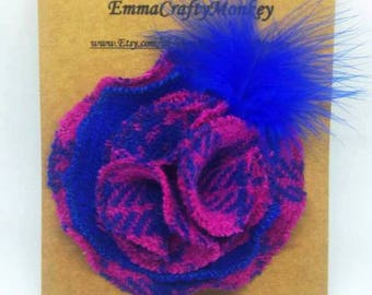 Harris Tweed. Brooch. Tweed Flower. Cobalt Blue. Neon Pink.