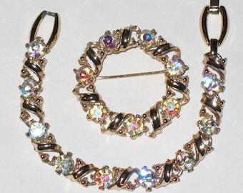 Vintage BRACELET & PIN Set with Large AB Aurora Borealis Rhinestones