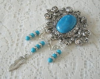 Turquoise Feather Brooch, southwestern jewelry southwest jewelry turquoise jewelry country western brooch bohemian brooch boho brooch
