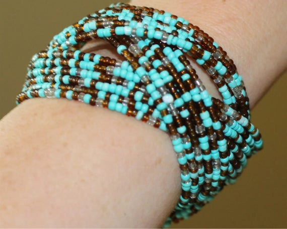 Pretty Southwestern Seed bead Woven Cuff Bracelet in turquoise blue and bronze brown