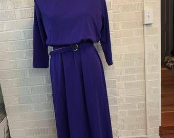 Vintage 1980s Blair violet purple belted dress women's size 10