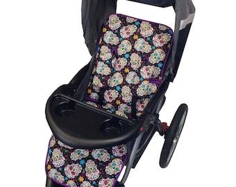 Sugar Skulls Stroller Liner - Reversible to Purple Minky