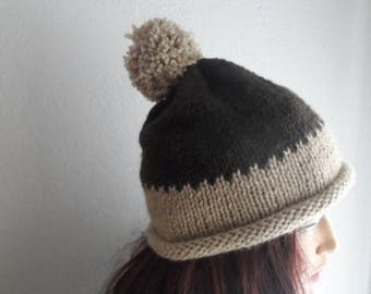 Outdoor Gift, Pom Pom Hat, Brown Slouchy Hat, Chunky Hat,Winter Hat, Womens Hat, Slouchy Beret
