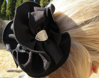 Black Bow Hair Claw Ruffled Jaw Clip Large Dressy Elegant Accessory Rhinestone Ponytail Holder Evening Party Romantic Updo Chic Gift For Her