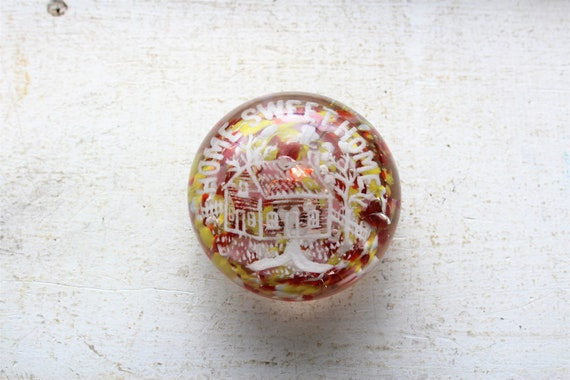 Vintage Frit Glass Paperweight Home Sweet Home Edward Rithner 1920s