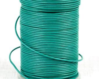 Greek Genuine Leather Cord, round 1.5mm Turquoise Aqua, By the Yard, DIY Nautical Mykonos Craft Jewelry Supplies