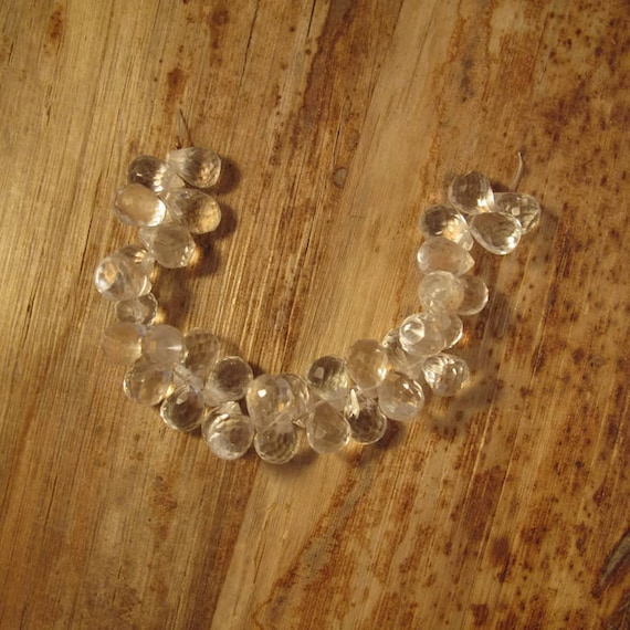 Natural Crystal Quartz Beads, Clear Gemstones, 9x6mm - 11x7mm, Round Faceted Briolettes, 4 Inch Strand, Over 30 Stones (B-Qu1b)
