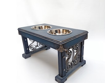 Elevated Double Bowl Pet Feeder: Dark Antiqued Blue and Grey with Silver Metal Scroll Work