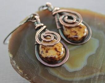 Artisan copper earrings with swirly drop and honey brown Picasso finish Czech glass briolette - Dangle earrings - Drop earrings - ER102