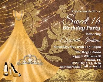 Sweet 16 Birthday Invitation, Birthday invitations, Sweet 16 invite, Girl Birthday, Invitation Quinceanera, Elegant Birthday Invitation,