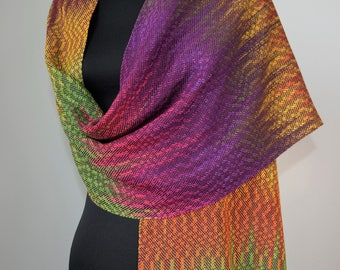 Handwoven Multi-color Bamboo and Tencel Scarf or Shawl,  Autumn Leaves Colors Wrap, Handpainted Bamboo and Eggplant Tencel Wide Scarf