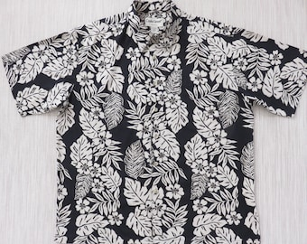 Hawaiian Shirt Men COOKE STREET CrAzY Black Mod Surfer Flower Tropical Print Aloha Shirt 100% Cotton Camp - L - Oahu Lew's Shirt Shack