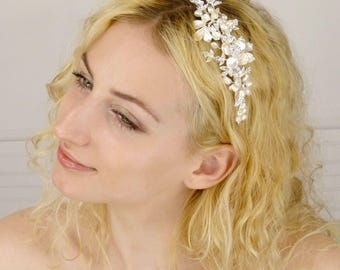 Enchanted Brides Handcrafted Wedding Headpiece of Elegant Keshi Pearl, Freshwater Pearl Flowers, and Soft Silver Metal Flowers (#98B3fcs)